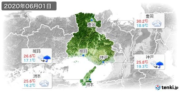 兵庫県(2020年06月01日の天気
