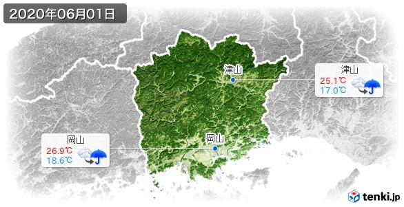岡山県(2020年06月01日の天気