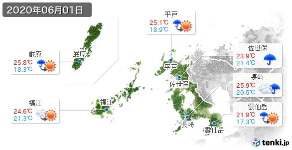 長崎県(2020年06月01日の天気