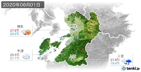 熊本県(2020年06月01日の天気