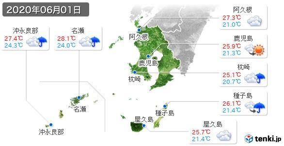 鹿児島県(2020年06月01日の天気
