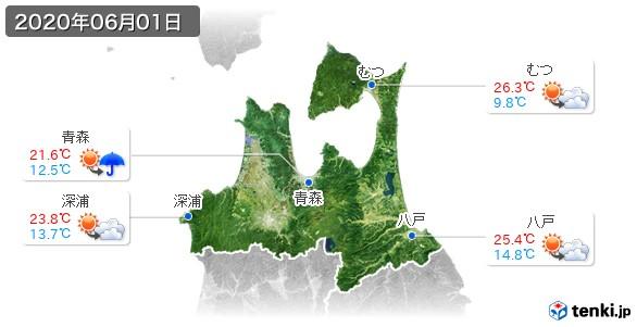 青森県(2020年06月01日の天気