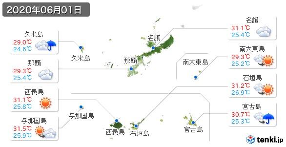 沖縄県(2020年06月01日の天気
