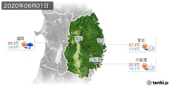 岩手県(2020年06月01日の天気