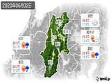 2020年06月02日の長野県の実況天気