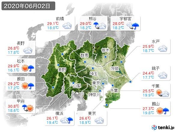 関東・甲信地方(2020年06月02日の天気