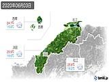 2020年06月03日の島根県の実況天気