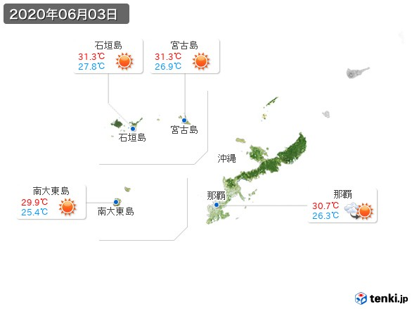 沖縄地方(2020年06月03日の天気