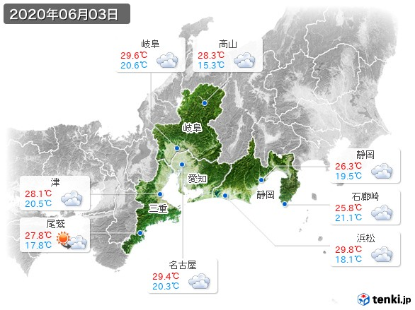 東海地方(2020年06月03日の天気
