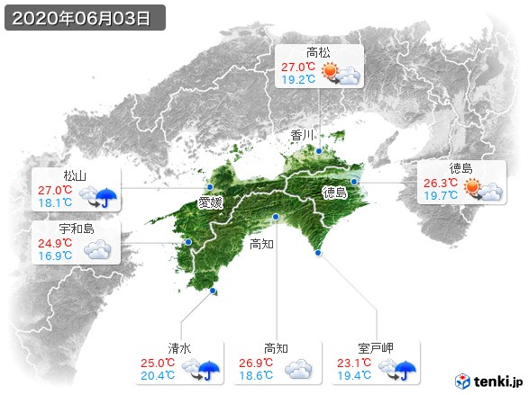 四国地方(2020年06月03日の天気
