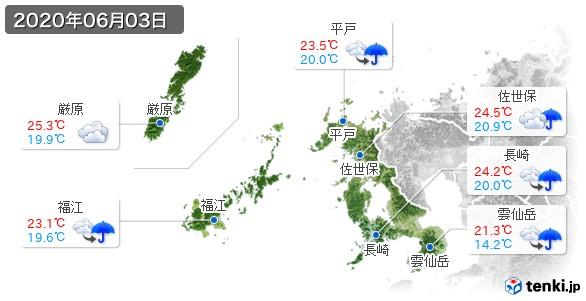 長崎県(2020年06月03日の天気