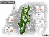 2020年06月04日の長野県の実況天気