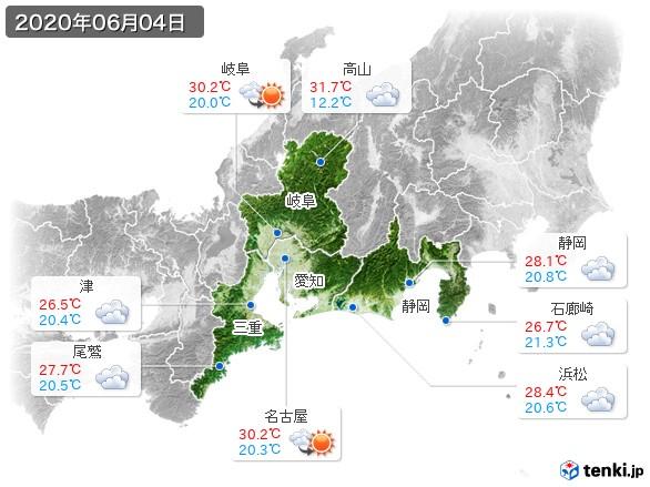 東海地方(2020年06月04日の天気