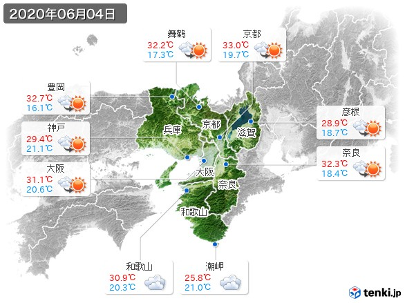近畿地方(2020年06月04日の天気