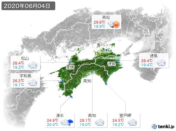 四国地方(2020年06月04日の天気