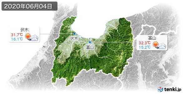 富山県(2020年06月04日の天気