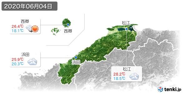 島根県(2020年06月04日の天気