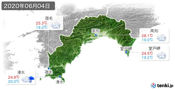 高知県(2020年06月04日の天気