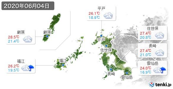 長崎県(2020年06月04日の天気