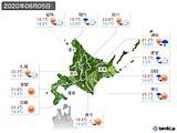 2020年06月05日の北海道地方の実況天気