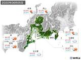 2020年06月05日の東海地方の実況天気