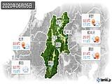 2020年06月05日の長野県の実況天気