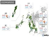 2020年06月05日の長崎県の実況天気