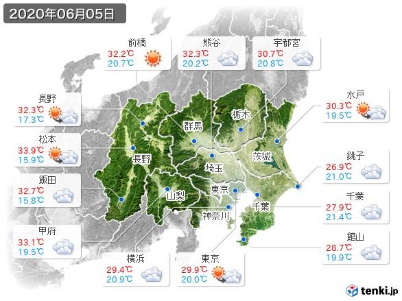 関東・甲信地方(2020年06月05日の天気