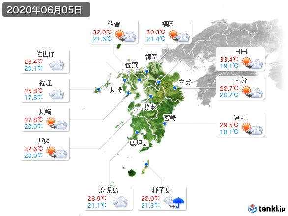 九州地方(2020年06月05日の天気