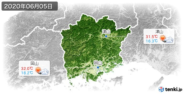 岡山県(2020年06月05日の天気