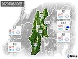 2020年06月06日の長野県の実況天気