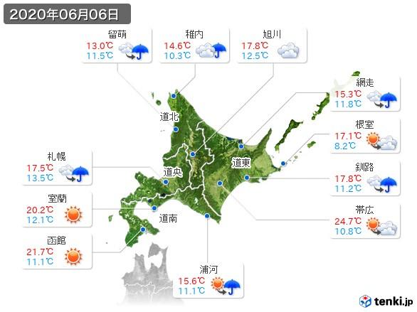 北海道地方(2020年06月06日の天気