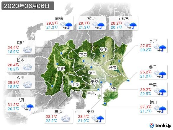関東・甲信地方(2020年06月06日の天気