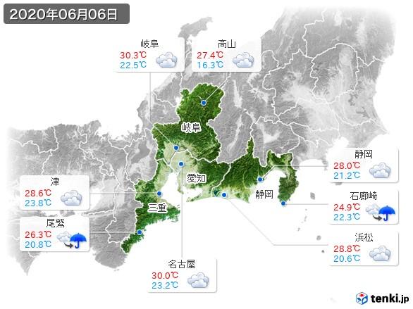 東海地方(2020年06月06日の天気