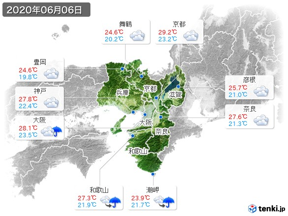 近畿地方(2020年06月06日の天気
