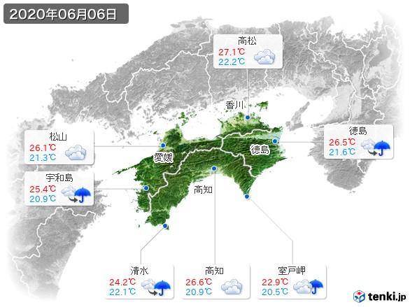 四国地方(2020年06月06日の天気