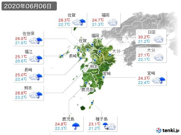 九州地方(2020年06月06日の天気