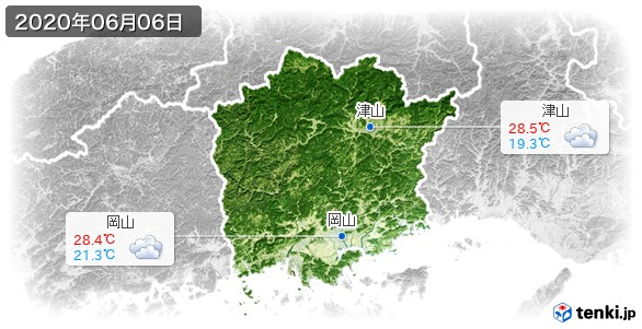 岡山県(2020年06月06日の天気
