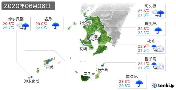鹿児島県(2020年06月06日の天気