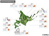 2020年06月07日の北海道地方の実況天気