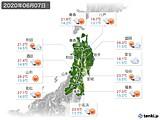 2020年06月07日の東北地方の実況天気