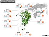 2020年06月07日の九州地方の実況天気