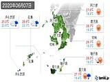 2020年06月07日の鹿児島県の実況天気