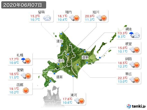 北海道地方(2020年06月07日の天気