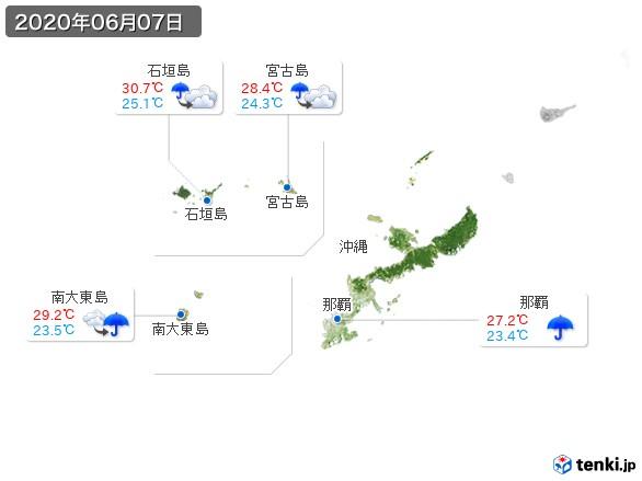 沖縄地方(2020年06月07日の天気