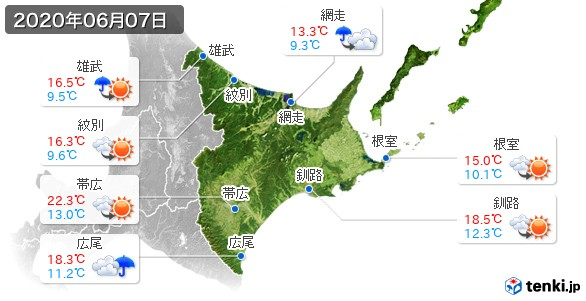 道東(2020年06月07日の天気