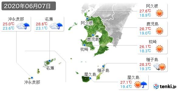 鹿児島県(2020年06月07日の天気