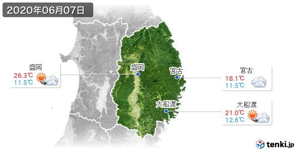 岩手県(2020年06月07日の天気