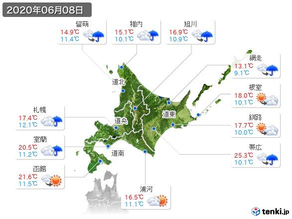 北海道地方(2020年06月08日の天気
