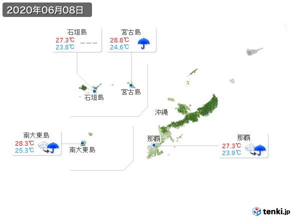 沖縄地方(2020年06月08日の天気